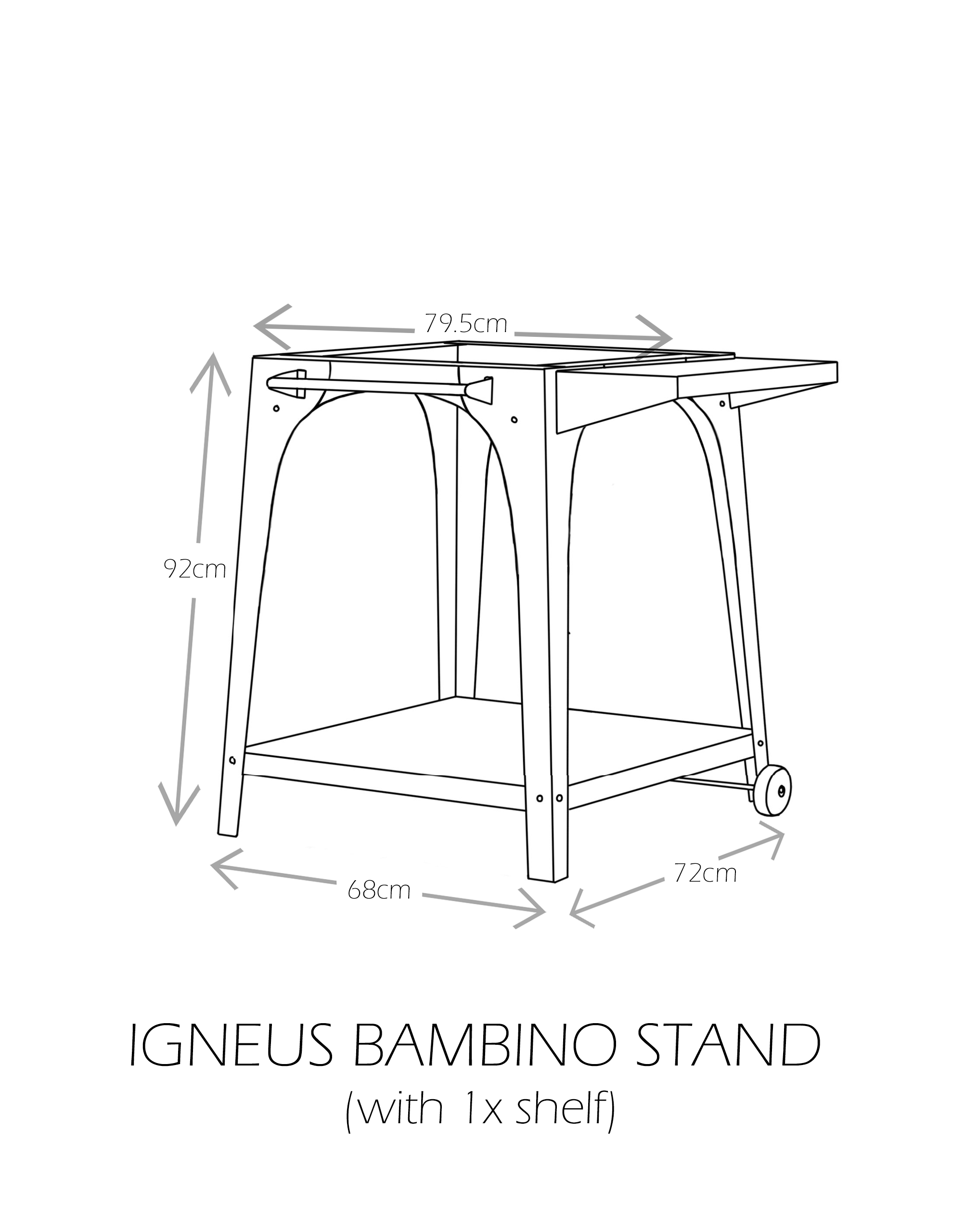 Igneus Bambino stand with 1x shelf - dimensions